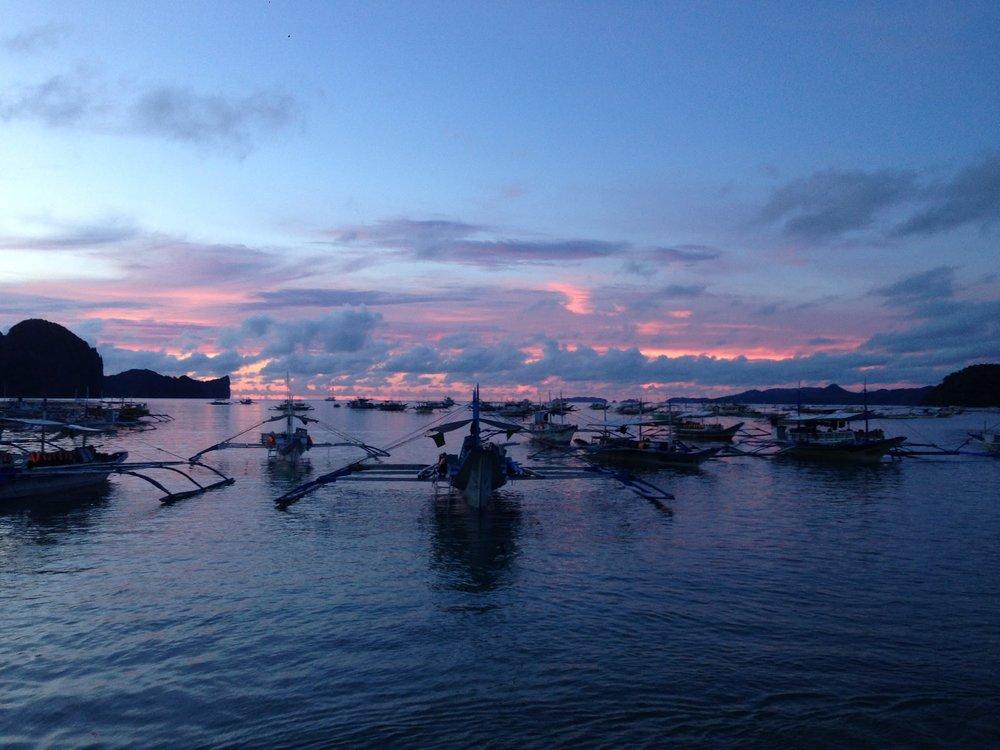 Sunset view from La Salangane