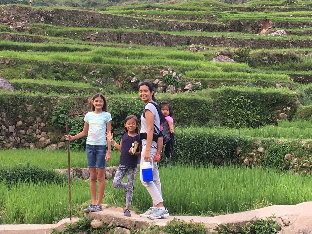 Hiking back up along the rice field