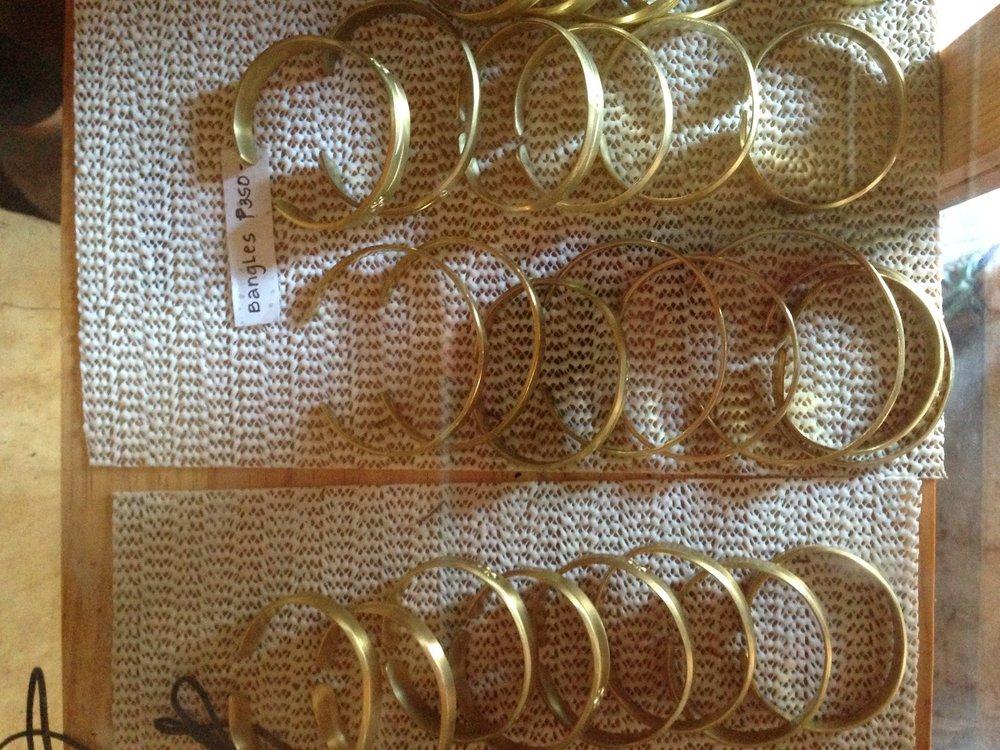 Brass bracelets made locally