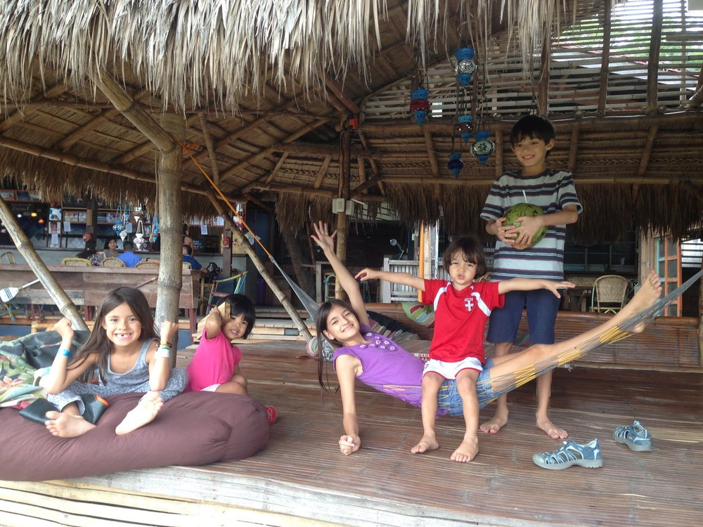 The kids chilling at Flotsam and Jetsam Hostel