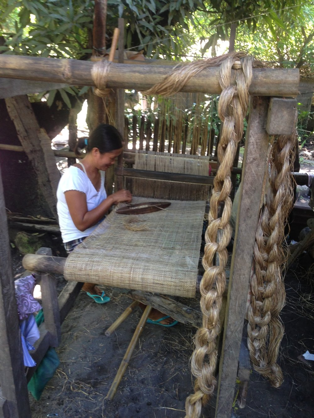 We passed a barangay where there was a lady weaving Abaca outside of her home. So amazing!
