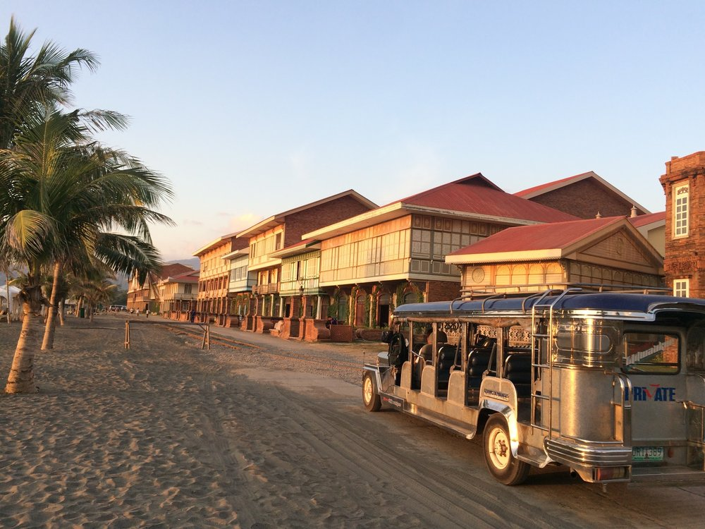 Hotel rooms on the beach and the resort jeepney shuttle