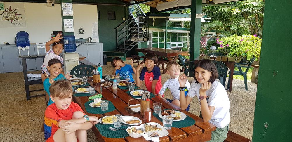At the eating area; Soloviento's tortang talong, adobong kangkong and chicken inasal.