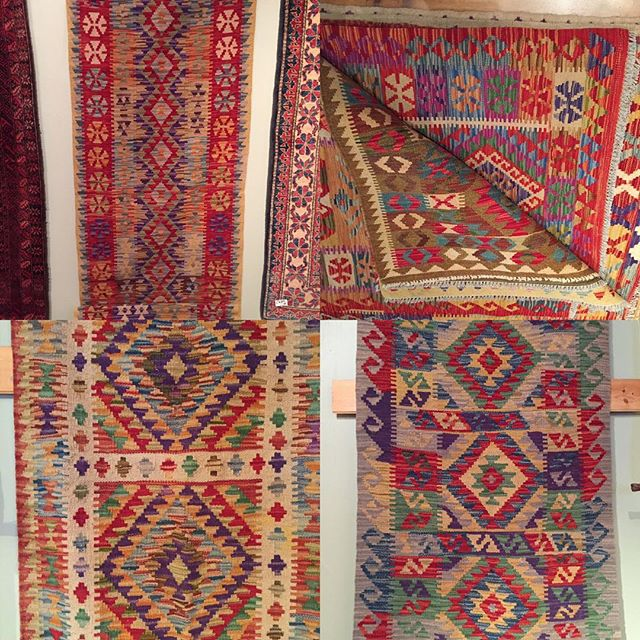 Kilims are in. So beautiful! Lots of sizes and colours to choose from. Come on in to Teas & Weaves.