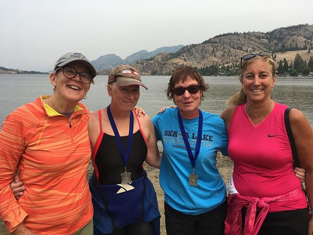 Jelly bean hand-standing licorice eating ladies I trained with to complete my bucket list swim. Thank you Elaine, Jan and Janet and our coach Diane