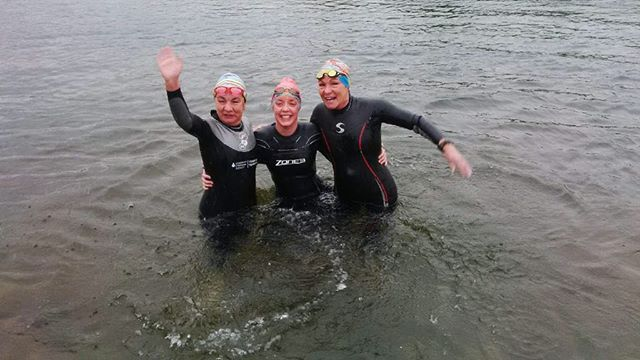 Penticton channel swim. Cool September 30th Sunday morning with my sister Mary and great niece Justine from England. Invigorating to say the least. Love my lake swims!