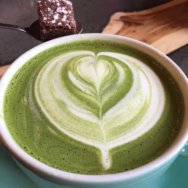 Matcha latte - perfect start to a Sunday morning treat.