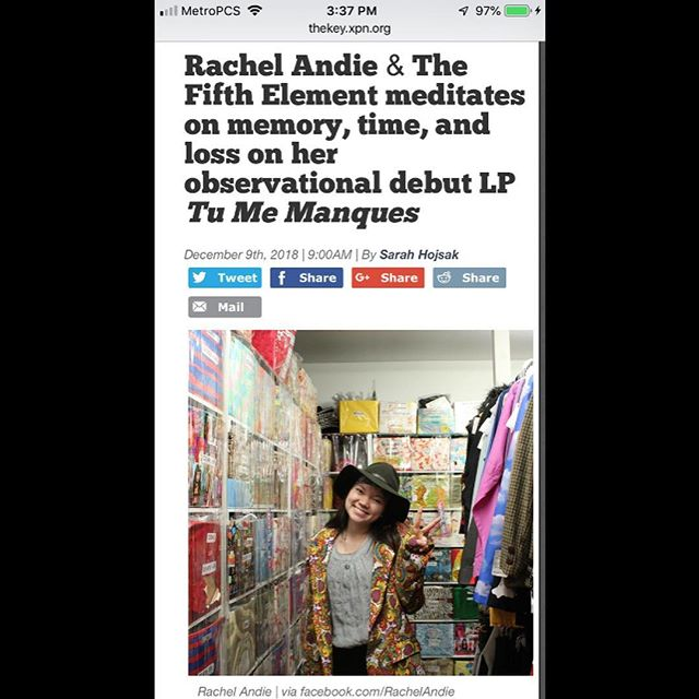We got our first write up of our music as Rachel Andie & The Fifth Element for the release of Tu Me Manques! Head on over to @wxpnfm The Key to check it out - Thank you Sarah Hojsak for the review 💛