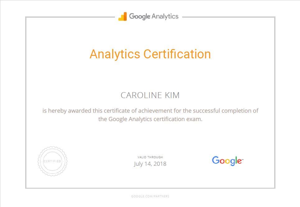 Google Analytics Certification Caroline Kim