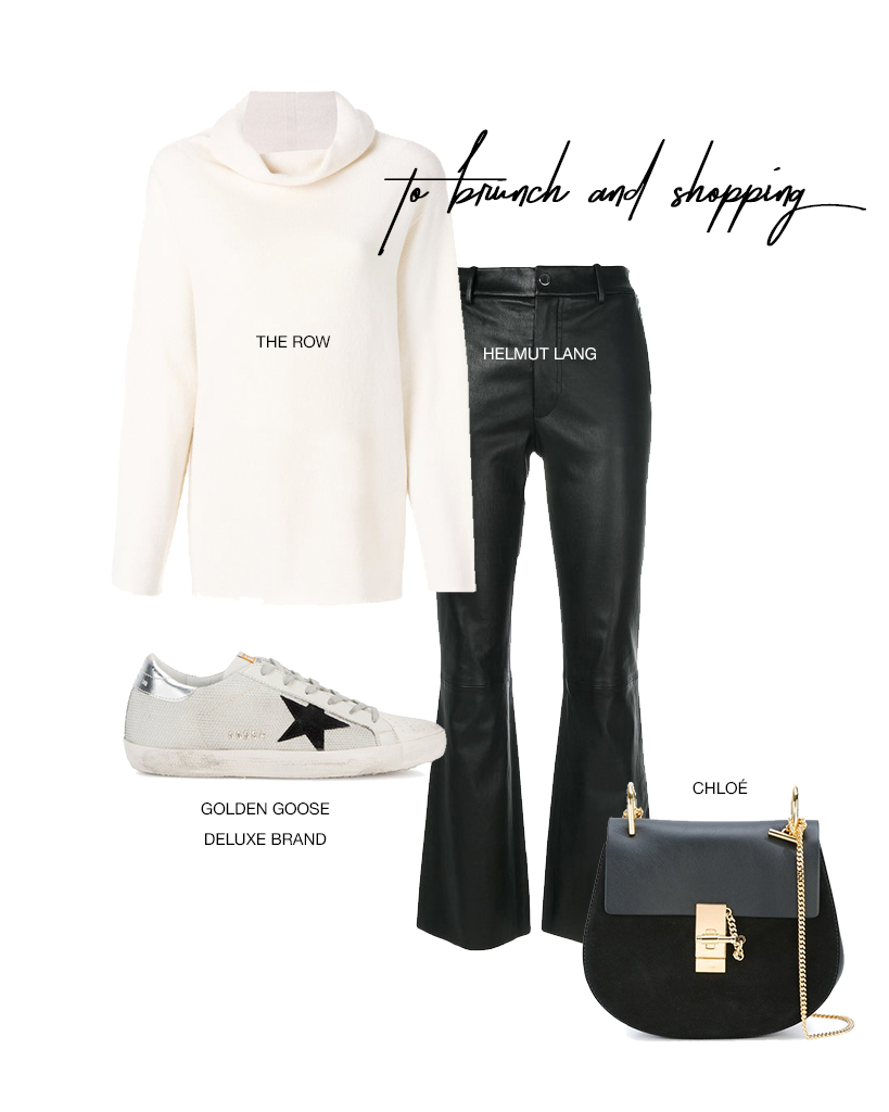 - A cozy cowl neck sweater is something everyone needs in their closet!  This gorgeous white sweater from The Row is a lifetime piece. Pair with some timeless leather trousers, a comfy pair of Golden Goose sneakers, and an easy cross body.