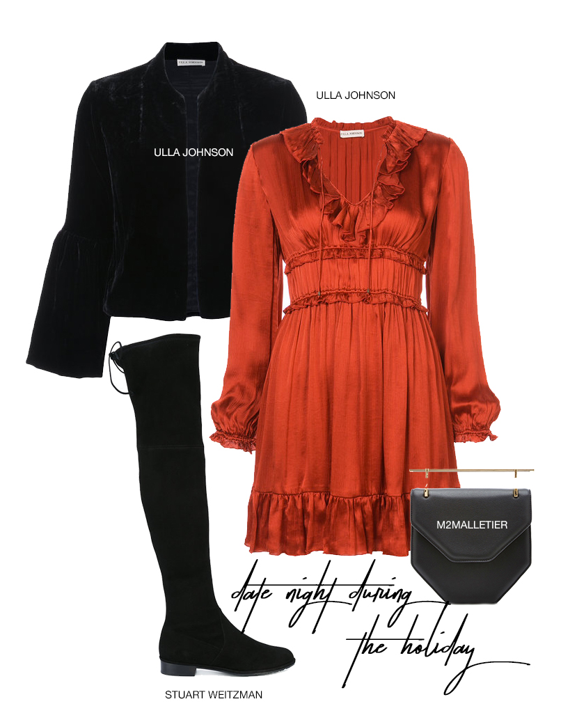 - You can still wear little dresses when you have these sleek Thigh High boots from Stuart Weitzman!  Pair with this flirty Ulla Johnson dress and bell sleeve fur coat.  It can sometimes be hard to be warm and cute, but this outfit won't let you down!