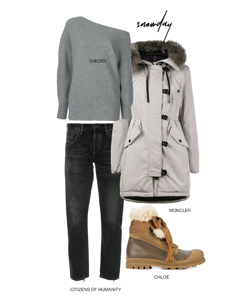 - Don't be a slob next snow day!  Be comfy in these slouchy yet chic Citizens of Humanity jeans, and a chic off the shoulder sweater.  These Chloé shearling lace up boots are perfect for romping around in the snow, and of course no coat keeps you quite as warm as Moncler!