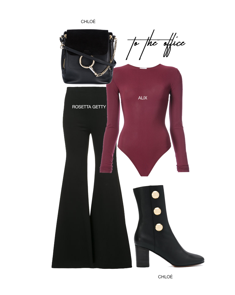 - Bodysuits are here to stay.  Pair this sleek bodysuit with this pair of striking flare trousers from Rosetta Getty.  These Chloé boots are fun, yet professional, and this little Chloé backpack is perfect for any commute.