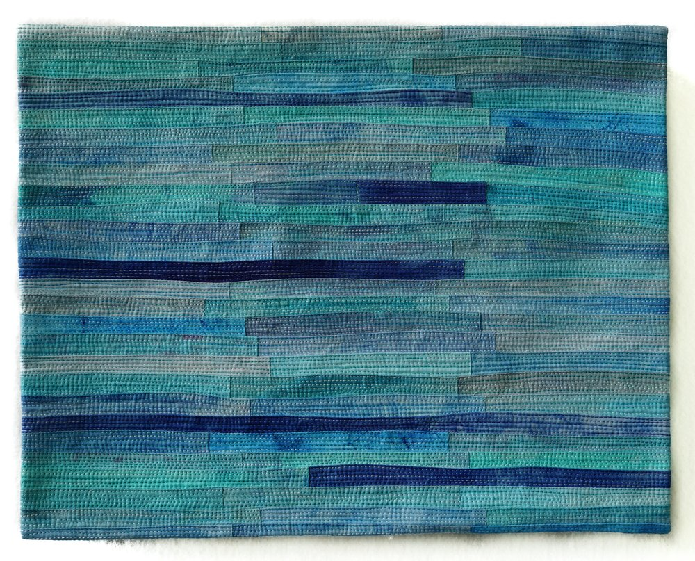 "Musings #13 14""x11"" cotton, dye, thread"