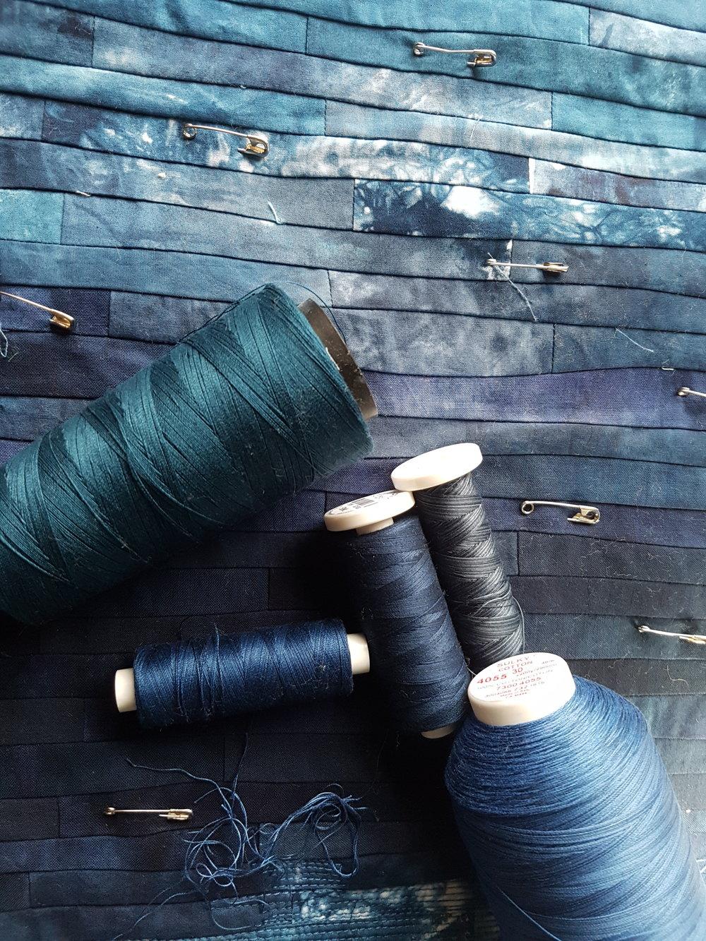 Choosing thread for the colour wash...