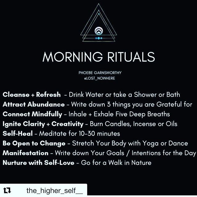 What's your morning ritual? One that feeds you and fills you up? To greet the day with appreciation? I read recently that gratitude is a natural anti depressant —-trade expectations for appreciation and stay unplugged first thing in the morning to practice a morning routine that fills you up and watch your life change✨ • • • we love this @lost_nowhere 💙 and @the_higher_self__  thx for the post and reminders 💙 ✨ #gratitude #visualization #meditation #journaling #selfcare #journaling #seasalt #yoga #walking #nature #reading #morningroutine  #coaching #healthandwellness #topperformance #intentions #goals #abundance #mindfulness #breath }#entrepreneur #morningrituals #bayarea #sacramento #folsom @internalwisdomfolsom @inspiredsciencecoaching