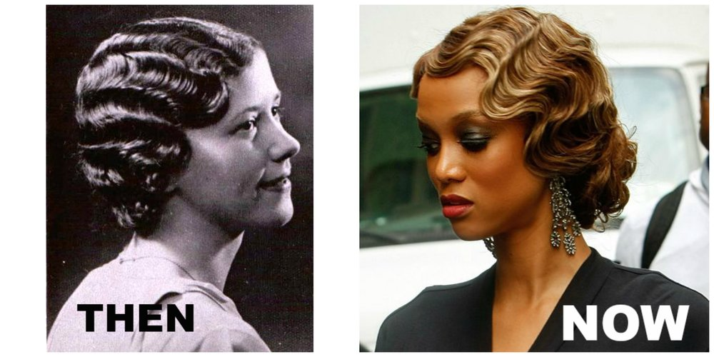Finger waves - Finger waves were a popular hair style of the 1920's and 1930's, and has been making a pretty big comeback since the 1990's. When finger waves were originally developed in the 20's it was to add style and soften the appearance of the bobbed hairstyles during the flapper era.  Finger waves were versatile in the fact that if you wanted casual, you could brush the waves out, or leave the wave in its original shape for a more dramatic look.