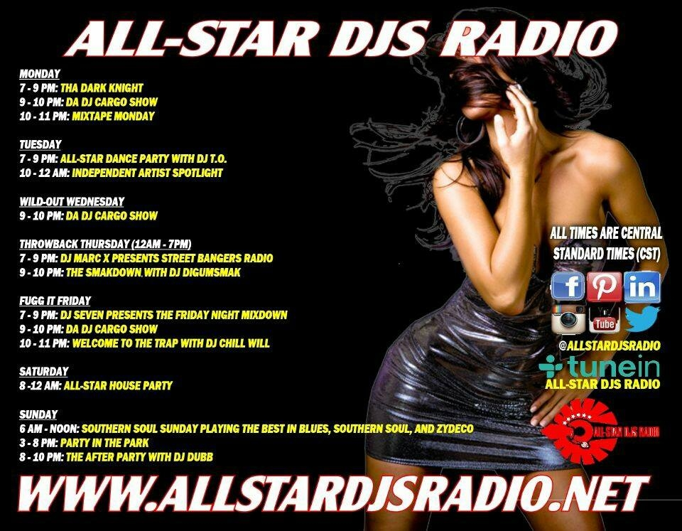All-Star DJs Radio - Covering a large variety of music genres, All-Star DJ Radio is packed with hit songs, independent artists, and talented DJs that know how to mix your favorite jams into hours of listening pleasure.