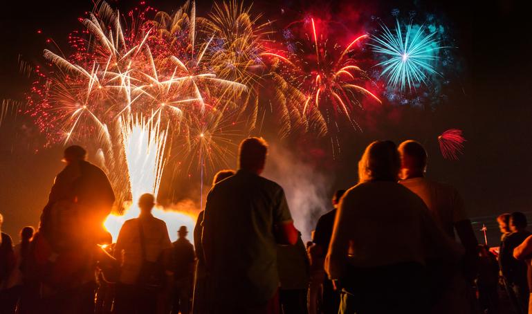 spectators watching fireworks