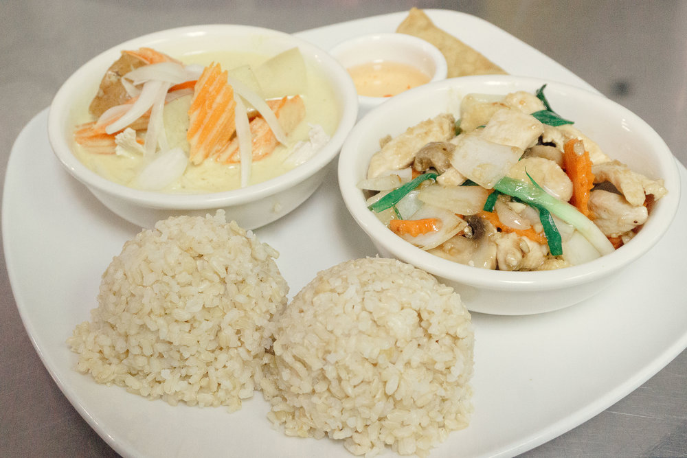 Lunch Menu $9.95 - Your choice of any two items, served with Jasmine or brown rice and a fried spring roll.Make with Thai fried rice for $2.All lunch items are served with chicken unless specified.Substitute chicken for beef, pork, or tofu for $1/item.Substitute chicken for shrimp for $2/item.