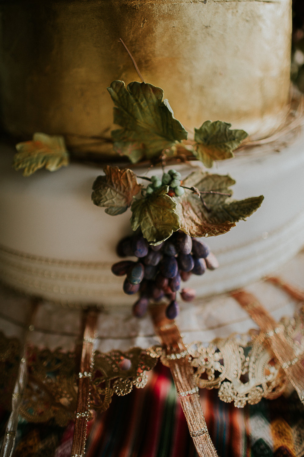 hand made grapes wedding cake