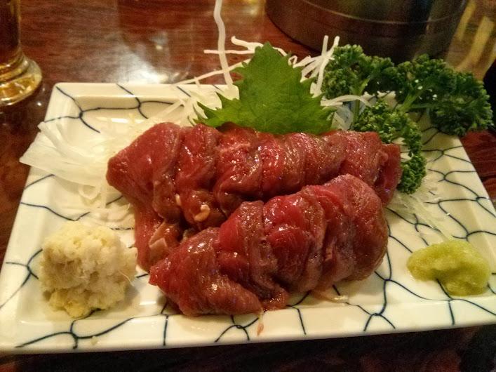 raw horse (basashi). double yum!!