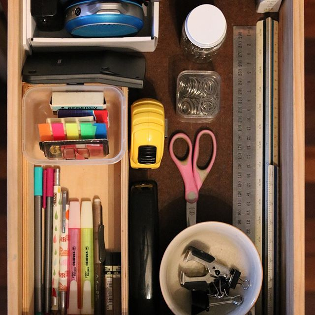 "Stationery! Desk drawers!!! ""Divide them into snug, well-defined compartments, and store them vertically."" Marie Kondo, Spark Joy No more reverting back to the chaos...see before"
