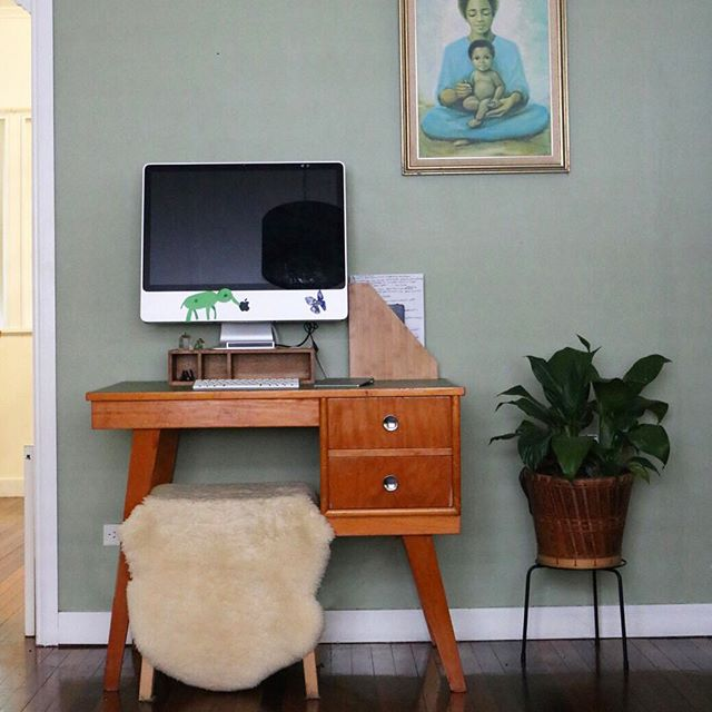 """Consider adding a small ornamental plant. Don't make your office solely practical. It's important to add a playful touch precisely because it's a work space.""✨ Marie Kondo, Spark Joy . . Playful touches courtesy of my daughters 🍎🐘✨ . What would you like to do to bring more joy into your workspace?"