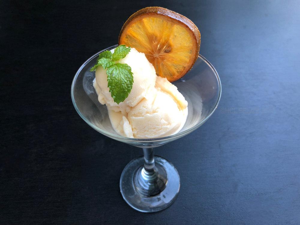 5th Course - Orange cream-sickle frozen yoghurt - - Orange and citrus infused Greek yoghurt, served frozen