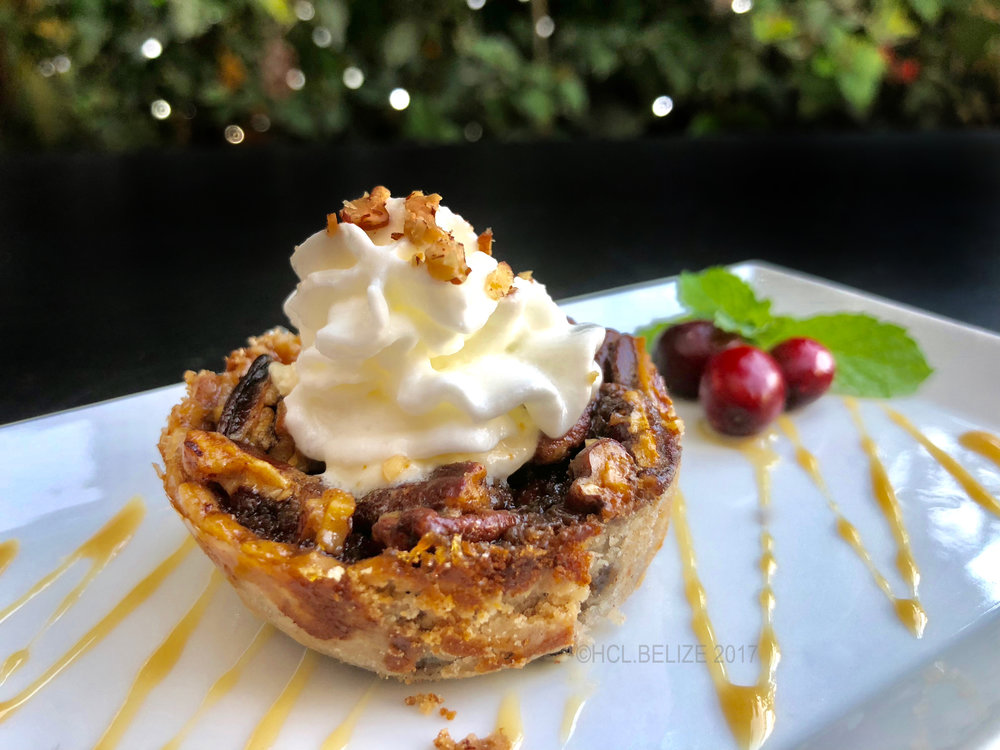 5th Course - Pecan Pie - Individually made mini pecan pies, baked a house made pie crust, topped with Chantilly cream