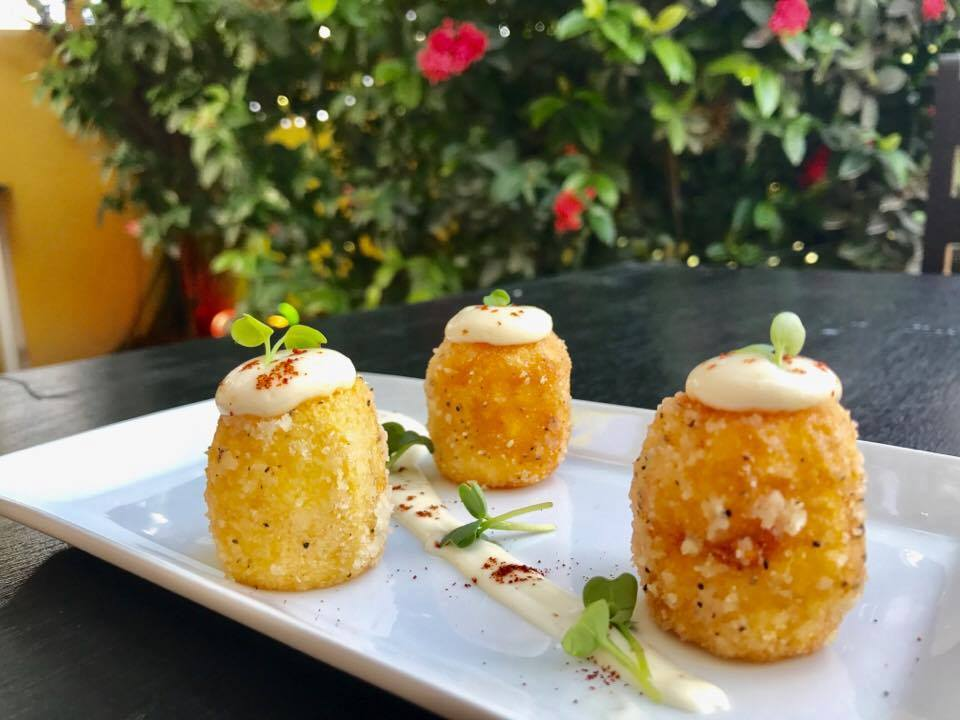1st Course - Papas Bravas - Golden deep-fried small potatoes tossed in truffle oil and parmesan, served with garlic aioli and a sprinkle of paprika