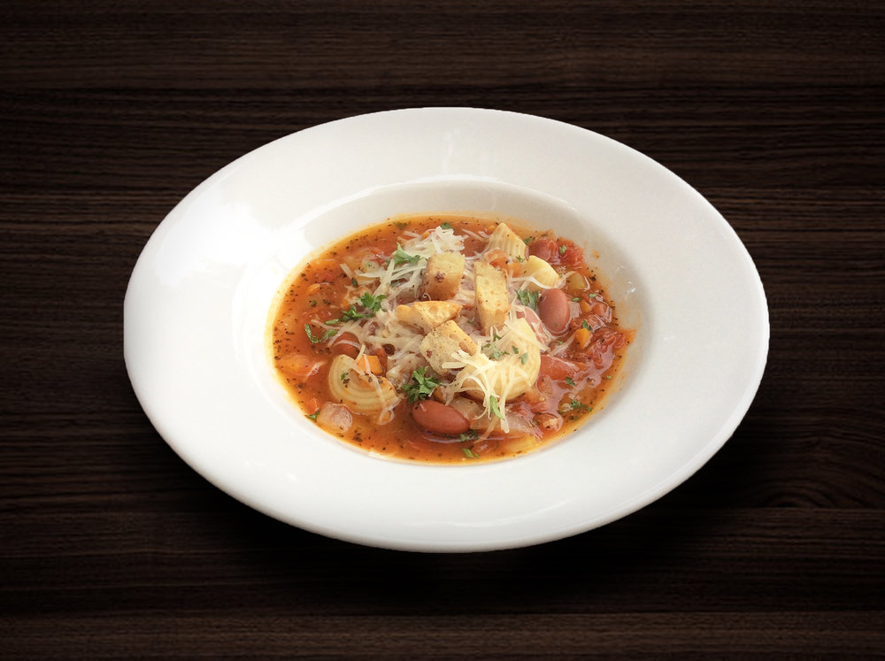 3rd - Minestrone Soup  - Traditional Italian soup made with chicken stock, kidney beans, celery, carrot, tomato, cabbage, elbow macaroni and fresh herbs topped with grated parmesan