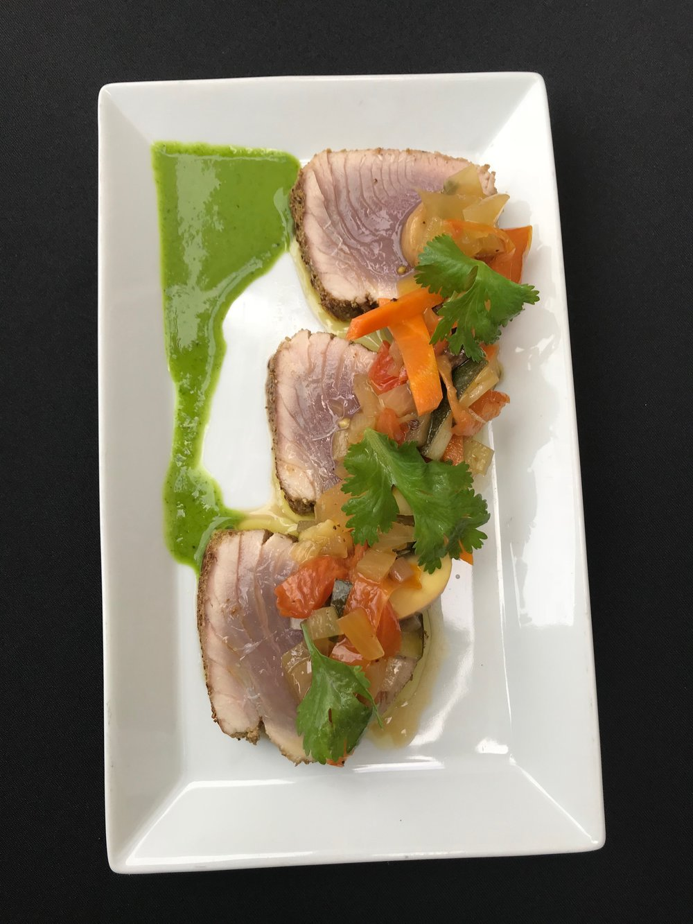Encrusted Tuna - Fennel encrusted tuna with vegetable escabeche and cilantro puree