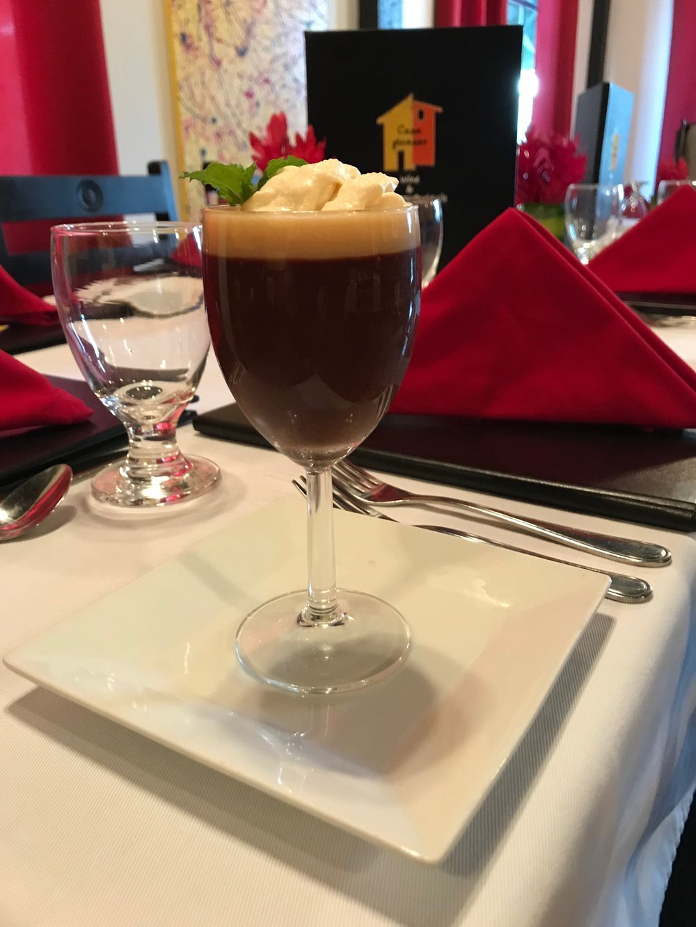 - Pot de CreamA rich chocolate custard with cream, milk, and egg yolk, topped with a Bailey's caramel sauce and a Bailey's infused Chantilly cream