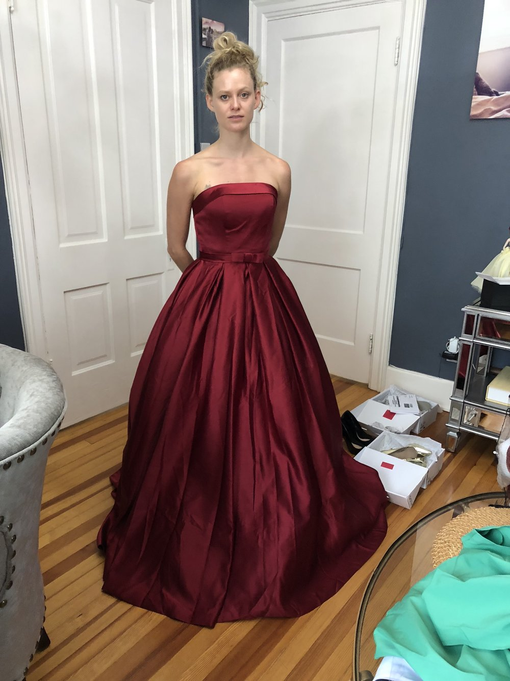 Maggie in a Denver fitting. Thank you, Facebook followers…the red looked amazing!!!