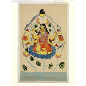 1880s watercolour painting of Lakshmi, the Hindu goddess of wealth, prosperity and abundance from the Victoria & Albert's South & South East Asia Collection. (http://collections.vam.ac.uk/item/O432776/lakshmi-painting-unknown/)
