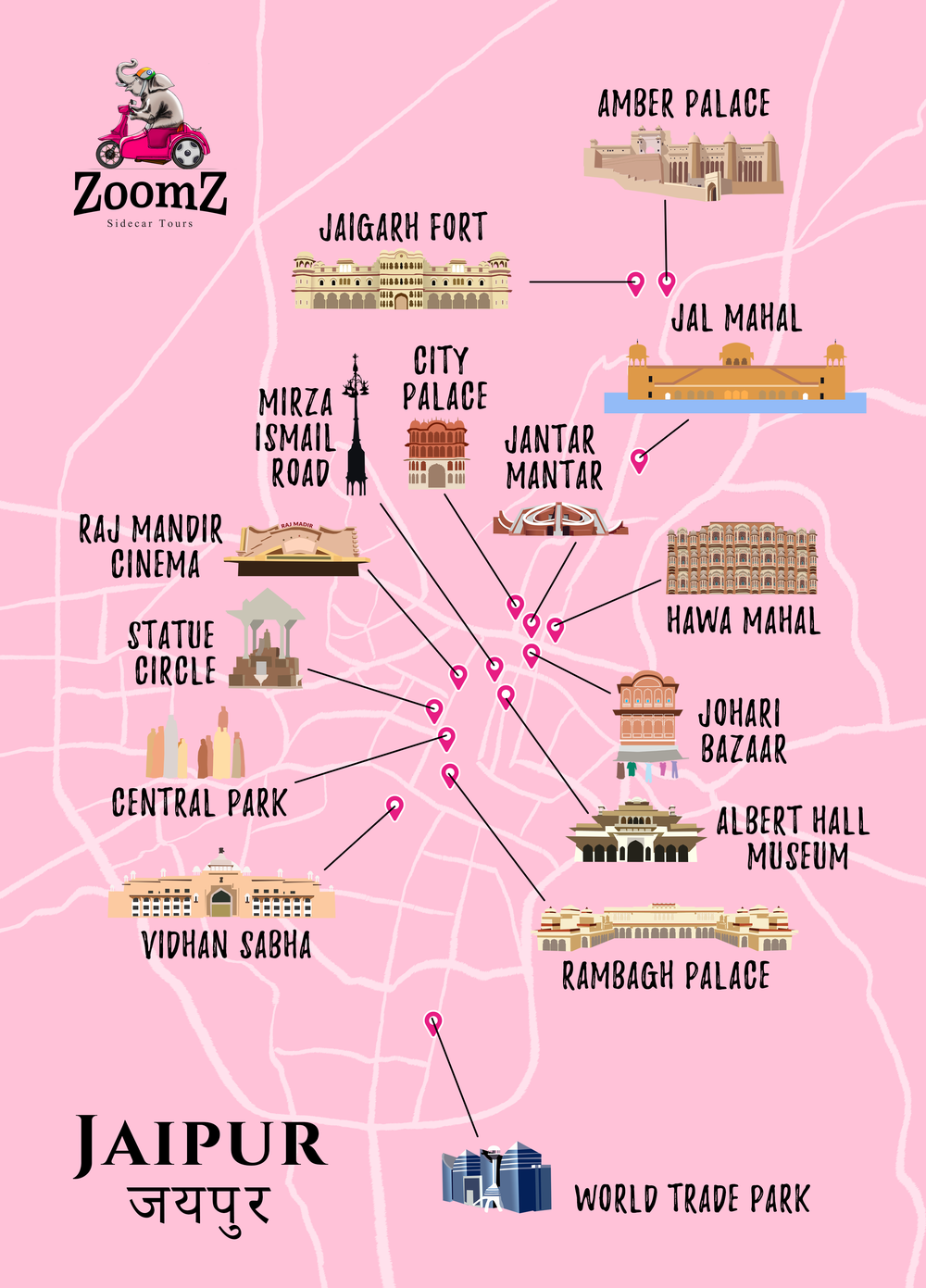Map ZoomZ India Sidecar Tours