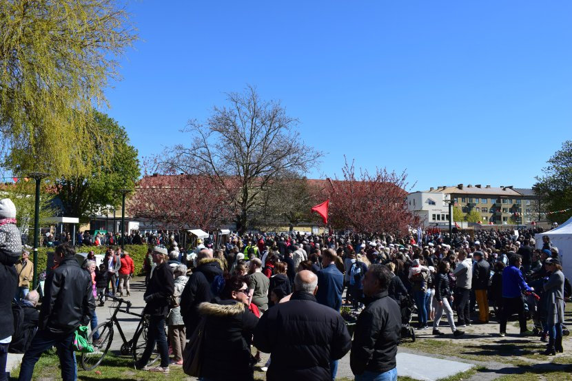 Malmö on the Labour Day: and so many people were in Folketspark, the final gathering point