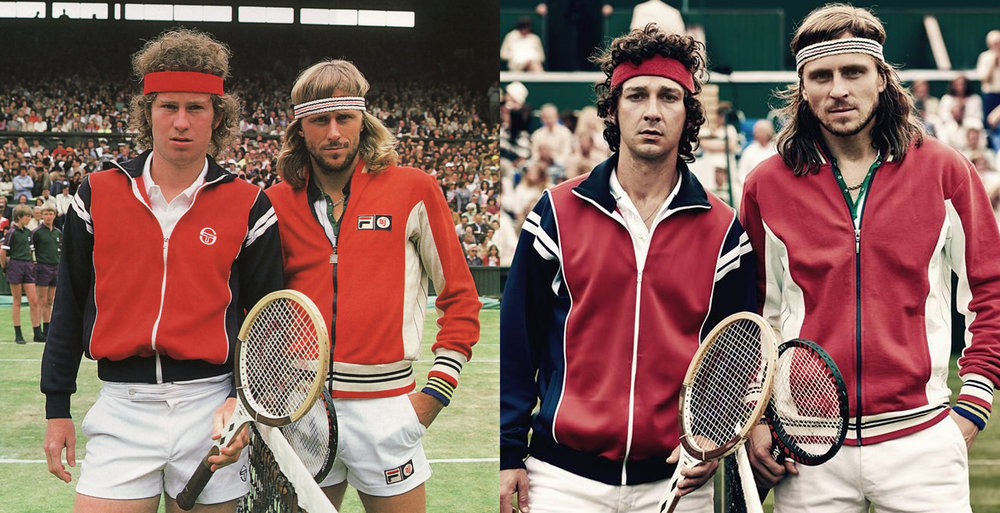 source: www.controlforever.com; John McEnroe and Björn Borg with their impersonators Sverrir Gudnason and Shia LeBeouf and Sverrir Gudnason