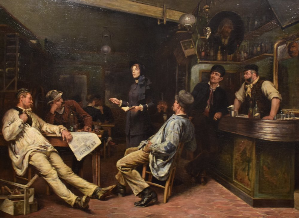 Gustaf Cederström, Frälsningsarmén. Miss Booth besöker en krog i Paris (dodać akcent do armii. The Salvation Army. Miss Booth visiting a Paris Tavern), 1886