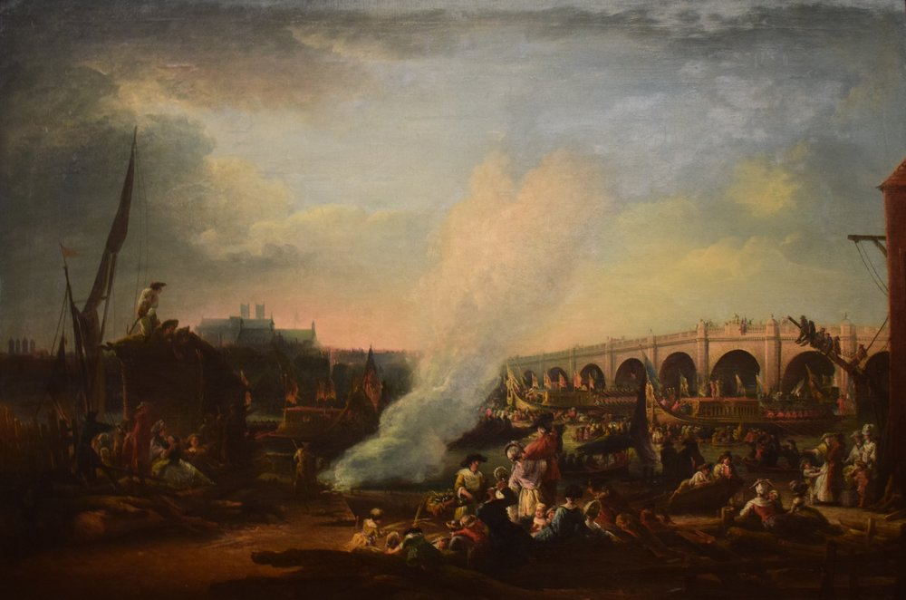 Elias Martin, Westminster Bridge och Konung Christian VIIs av Danmark procession på Themsen år 1769 (Westminster Bridge and the Thames Procession of King Christian VII of Denmark in 1769