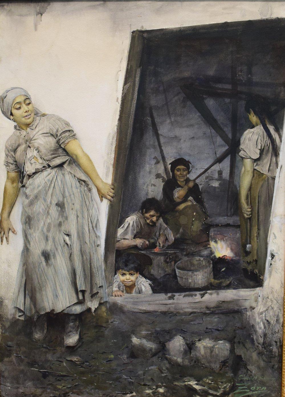 Anders Zorn, Zigenarsmedja (Gipsy Forge), 1885