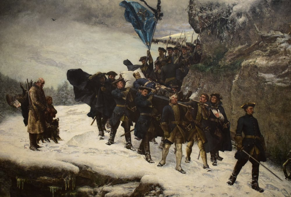 Gustaf Cederström, The Body of Charles XII of Sweden being carried home from Norway, 1878, Göteborgs konstmuseum