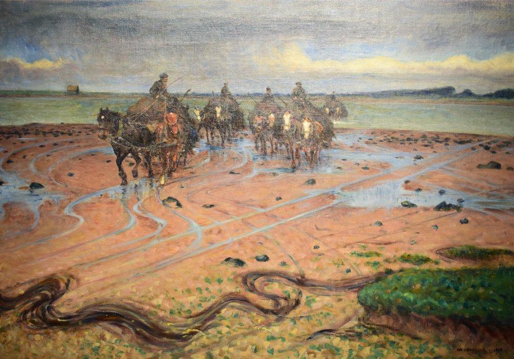 Nils Kreuger, Tångkörare vid halländska kusten (Seaweed carters), 1898