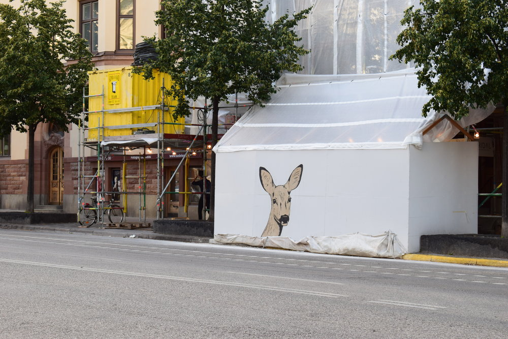 Stockholm - view of the city with a deer