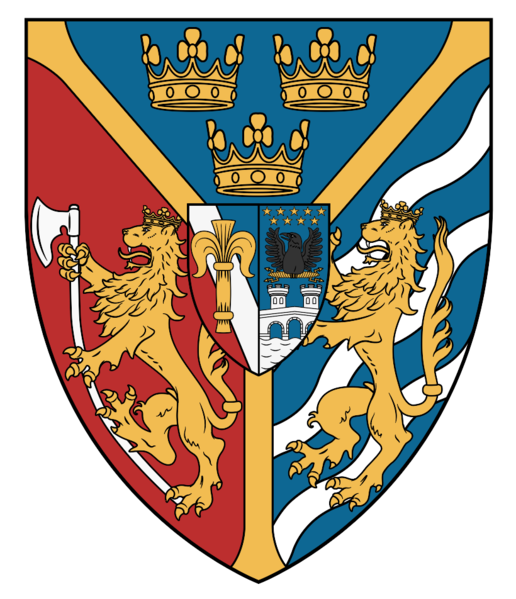 What we see here is Sweden's coat of arms from the rule of Charles XIV. Lion with an axe stands for Norway, lion with three streams represents Folkungs and sheaf of grain is a symbol of Vasas (obviously). Beside the sheaf there is coat of arms of the house Bernadottes - Ponte Corvo, a bridge with an eagle above it.