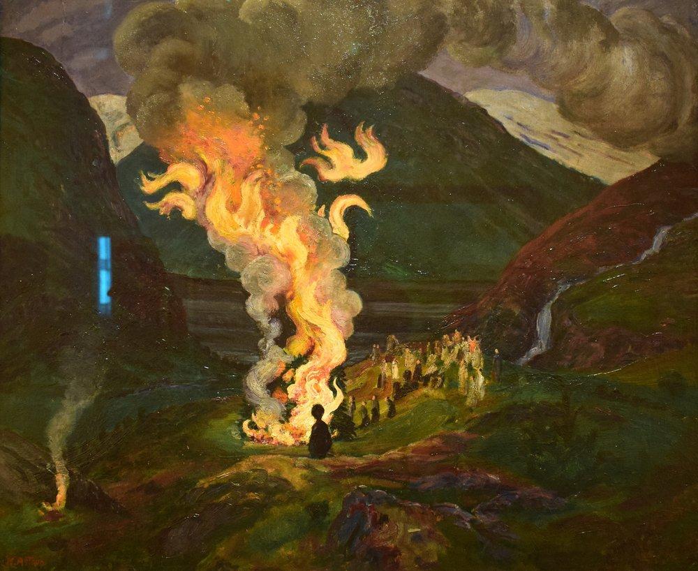 Nikolai Astrup, Bonfire celebrating Midsummer Night, 1912-1926, Nasjonalmuseet