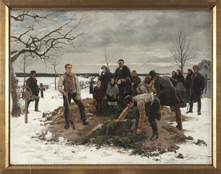 Gustaf Cederström, A Funeral in Alsike, 1883, Nationalmuseum