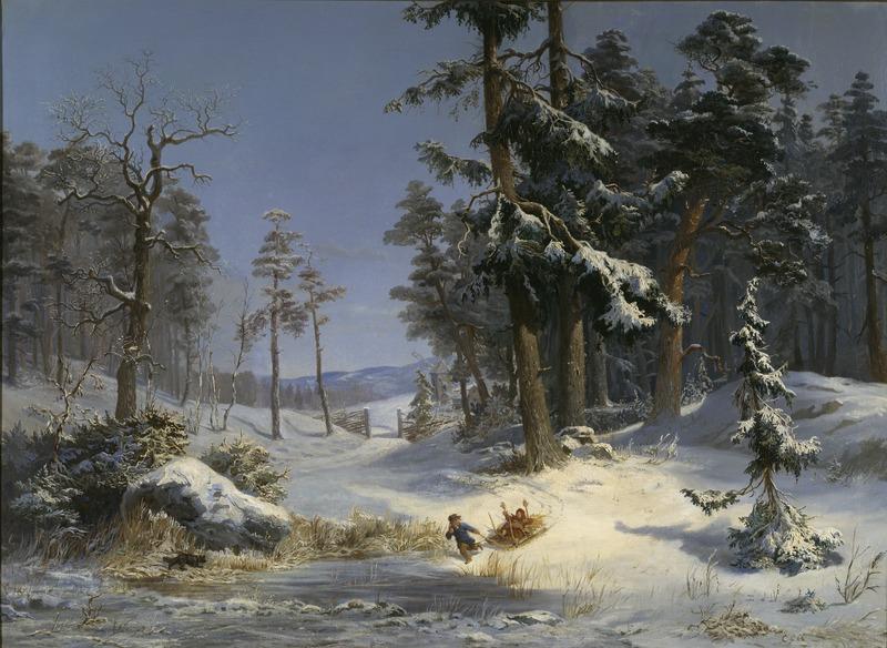 King Charles XV, Winter Landscape from Queen Christina's Road in Djurgården, Stockholm, Nationalmuseum, 1866