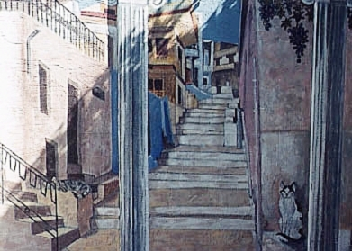 Greek Street with Cats